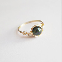 Green Goldstone Ring - unique rings