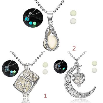 Charms Moon Star Square Love Heart Glow In The Dark Luminous Hollow Out Water Drop Pendant Necklace Glowing Locket Jewelry Gift