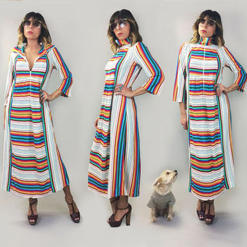 Vintage 1970's RAINBOW Racing Striped Terry Zip Up Dress || Size Small Medium