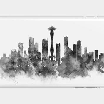 Seattle Black And White Phone Case By Monn Design By Humans