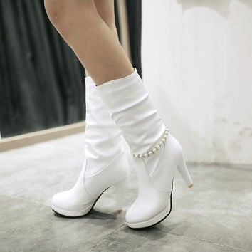 Pearl Boots High Heels Women Shoes Fall|Winter 6711