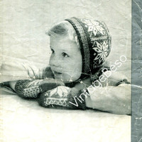 Shetland Bonnet and Mitts 1940s Vintage Crochet Pattern Patons 923 in Fair Isle Fingering for children 3 to 6 year olds UK Knitting Pattern