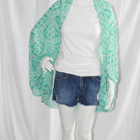 Tribal Aztec Knotted Cocoon Cardigan/ Beach Cover up/ Lightweight Kimono Wrap/ Chiffon Shawl/ Versatile Oversized Scarf