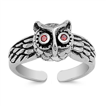 Sterling Silver Owl Toe Ring/ Knuckle/ Mid-Finger 8MM