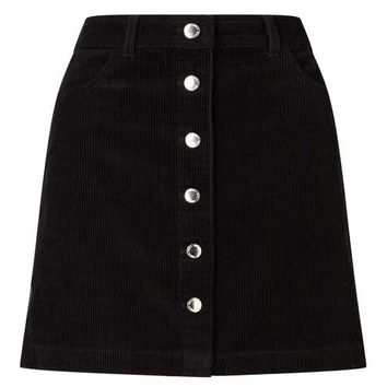 Black Cord A-Line Mini Skirt