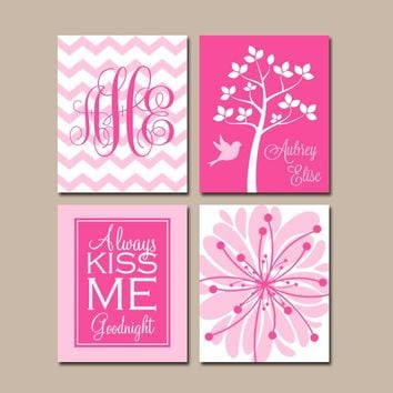 Hot Pink Nursery Art, Girl Monogram Wall Art, CANVAS or Prints, Baby Girl Nursery Decor, Always Kiss Me, Girl Tree Nursery, Set of 4
