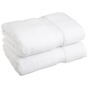 "Superior 900 GSM Luxury Bathroom Towels, Made of 100% Premium Long-Staple Combed Cotton, Set of 2 Hotel & Spa Quality Bath Towels - White, 30"" x 55"" each"