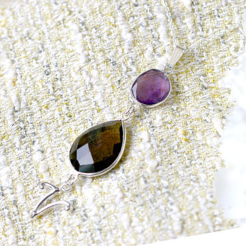 Amethyst Necklace,Smoky Necklace,Personalized Necklace,Customize Initials Necklace,Gemstone Necklace,Silver,Agate necklace