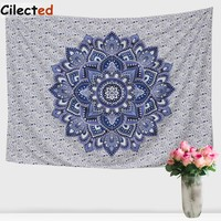 Cilected Wall Tapestry Lotus Printed Mandala Blanket Wall Hanging Polyester Indian Boho Home Decor Beach Colchas Indias