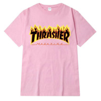 """Thrasher""Fashion loose leisure extreme sports skateboard brand T-shirt Pink"