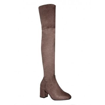 Joelle Taupe Suede Block Heel Thigh High Boots : Simmi Shoes