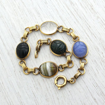 Vintage Scarab Bracelet - 12K Gold Filled Semi Precious Stone Egyptian Revival Jewelry Signed Admark - Quartz, Onyx, Bloodstone / Beetles
