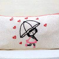 Lovely girl and hearts Make up Bag / pencil case/ hand embroidery on linen