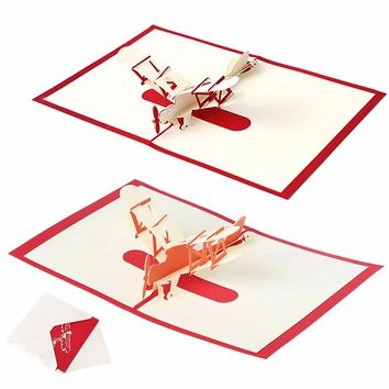 3D Pop UP Holiday Greeting Cards Paper Airplane Christmas Thanksgiving Gift NEW