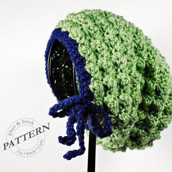 CROCHET PATTERN - Bitty Bow Slouchy Beanie Pattern, Slouchy Hat Pattern, Slouch Beanie, Bow Beanie (Toddler, Child, Adult Sizes) pdf #021H
