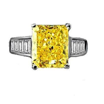 5 CT. Radiant Emerald shape Engagement/Cocktail Simulated Diamond - Diamond Veneer Sterling Silver Ring 635R7817canary