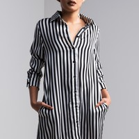 AKIRA Long Sleeve Loose Fit Button Up Striped Shirt Dress in Stripe