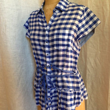 Linen Cotton Gingham Tunic With Crochet Lace Inset Back Detail (Free People)