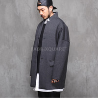 Neoprene Drop Shoulder Oversized Mandarin Collar Jacket