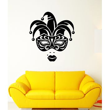 Vinyl Wall Decal Carnival Jester Face Mask Girl Lips Stickers (3291ig)