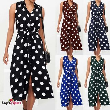 Boho Dress Polka Dot Prints V Neck Waist Lace Up Sleeveless