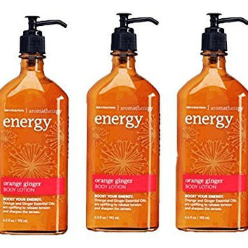 Lot of 3 Bath & Body Works Aromatherapy Energy Orange Ginger Body Lotion 6.5 Fl Oz Each (Orange Ginger)