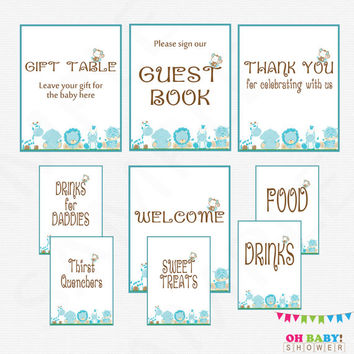 Blue Safari Baby Shower Table Signs, Jungle Baby Shower Welcome, Guest Book, Gift Table, Drinks, Sweet Treats, Thank You Printable BS0001-B