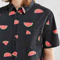 Globe Watermelon Print Short-Sleeve Button-Down Shirt