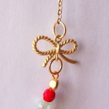 dainty necklace, beaded necklace, gold plated necklace, colorful necklace by SABOTAGEandCO