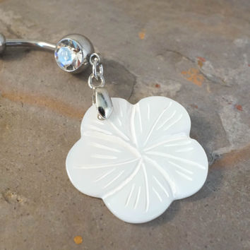 White MOP Hibiscus Flower Belly Button Ring Jewelry