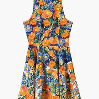 Orange Floral Print Sleeveless Pleated Mini Dress