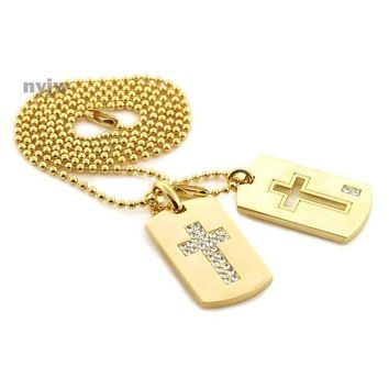 DCCKH7E NEW TUPAC CROSS DESIGN DOUBLE DOG TAG 18k GOLD FILLED W 30' BALL CHAINS DTC005GS
