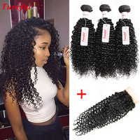 3 Bundles Virgin Malaysian Kinky Curly Weave Hair With Closure