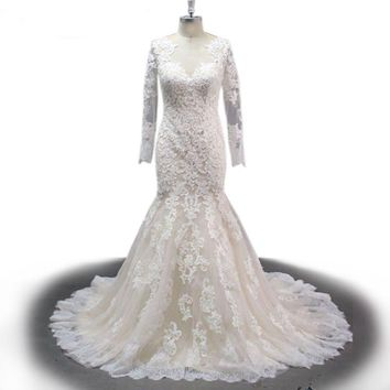 Back Long Sleeve Wedding Dress Applique Lace Real Picture Wedding Dress