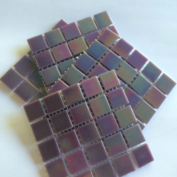 "WA45070 Dark Purple 3/4"" Iridescent Mosaic Tiles-25 pc// Purple Tiles//Discount Mosaic Tiles"