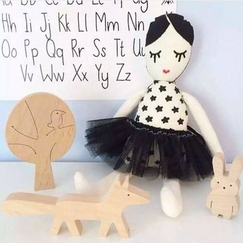 Ins Cotton Black And White Yarn Dress girl Toy Cuddly Cushion On The Bed In Children Room Calm Doll Size 50cm