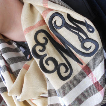 Infinity Scarf  Monogram Font Shown INTERLOCKING