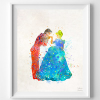 Cinderella Print, Prince Charming, Watercolor Art, Type 2, Disney Poster, Nursery Wall Art, Street Art, Room Decor, Halloween Decor