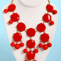 Bubble Bee Coral Red Statement Necklace