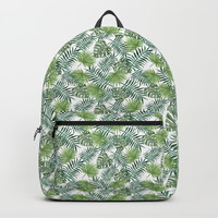 Green Palm Leaves Backpack by Leah McPhail