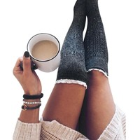 Cotton Knitted Womens Sexy Thigh High Knee Stockings 2017 Winter Crochet Stay Up Stockings Warm Pantyhose Leg Warmers Plus Size