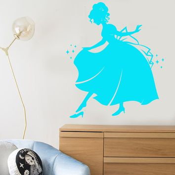 Vinyl Wall Decal Cinderella Princess Fairy Tale Story Nursery Children's Room Stickers Unique Gift (1089ig)