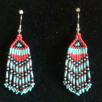 Handmade Brickstitch Seed Bead Earrings, Native American Inspired