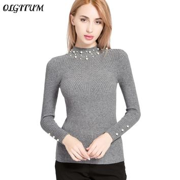 2018 New Autumn/Winter Women Pearl Beaded Sweater High Elasticity Slim Female O-Neck Long Sleeve Knit Sweater And Pullover SW854