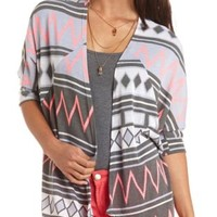 Geo-Aztec Cascade Cardigan by Charlotte Russe - Med Gray Combo