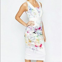 Ted Baker dress Pink hanging gardens Floral Midi Arienne bodycon | eBay