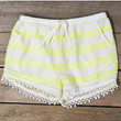 Out To Lunch White And Lime Sequin Crochet Shorts