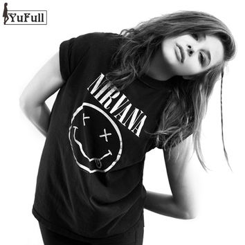 Punk Rock Nirvana Letter Print T-shirt