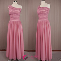 Pink Long Chiffon Dress/ Elegant Pink Dress /Maxi Long Dress /Handmade Chiffon Dress /One Shoulder Bridesmaid Dress/Long Chiffon Prom Dress