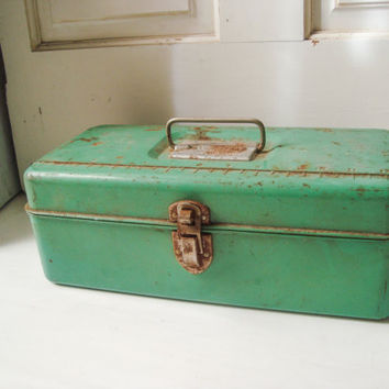 Vintage Liberty Steel Chest Corp Green Rustic Tackle Box, Distressed Fishing Supply Box, Rustic Decor, Photo Prop, Green Metal Supply Box